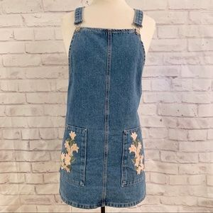 Topshop Embroidered Denim Pinafore